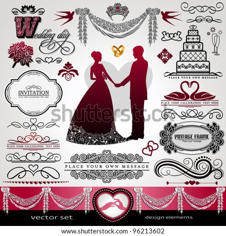 Wedding Day, background, ornaments set, calligraphy abstract elements, vector invitation card, label, vintage frame, bouquet, abstract flower patterns, floral retro banner, wreath, divider for design - stock vector