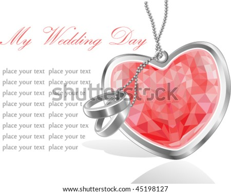 Wedding day invitation card with red diamond heart and rings - stock vector
