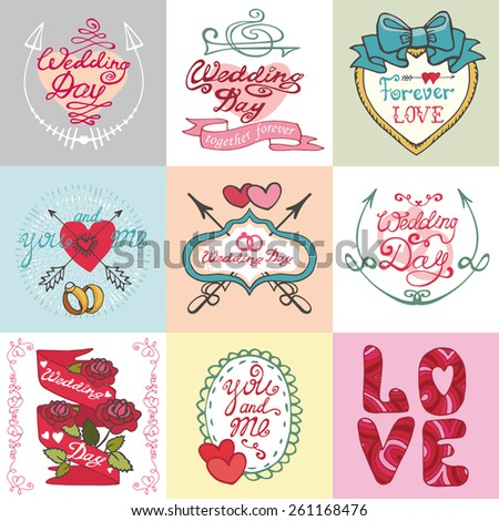 Wedding day,love,romantic invitations cards collection.Labels,ribbon,swirls,arrows,headline.Cute Doodle hand drawing decor set.Vintage vector,retro.Valentines day - stock vector