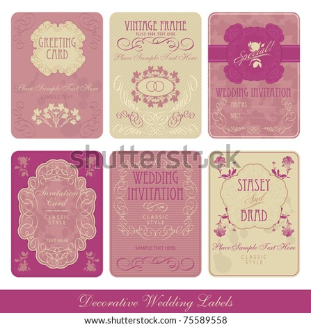 Wedding decorative vintage labels - stock vector