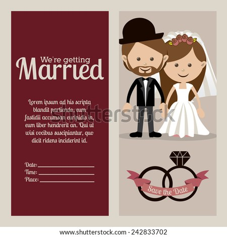 Wedding design over beige background, vector illustration.
