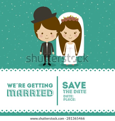 Wedding design over blue background, vector illustration