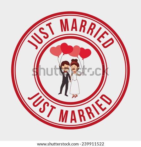 Wedding design over gray background, vector illustration. - stock vector