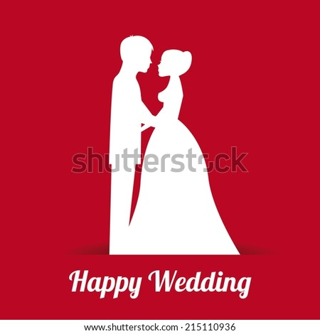 wedding design over red background vector illustration