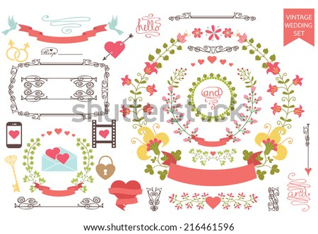 Wedding design template set  in Retro style.Floral wreath,icons, swirling border,frame,hearts. For Wedding  or Valentine day, invitation, bridal shower card, greeting card,save date, cover.Vector. - stock vector