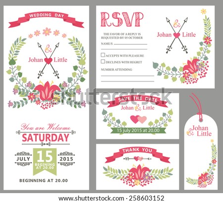 Wedding design template set with flowers,wreath frame,ribbon,border in Retro style .For Wedding  invitation,thank you,save date,tag,RSVP card.Vintage vector,floral decor. - stock vector