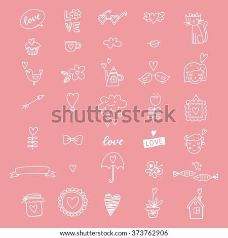 Wedding doodle vector icon set