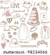 Wedding doodles sketchy vector illustration - stock vector