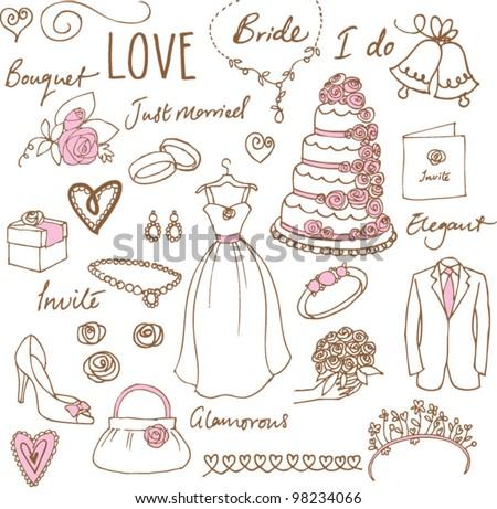Wedding doodles sketchy vector illustration - stock vector