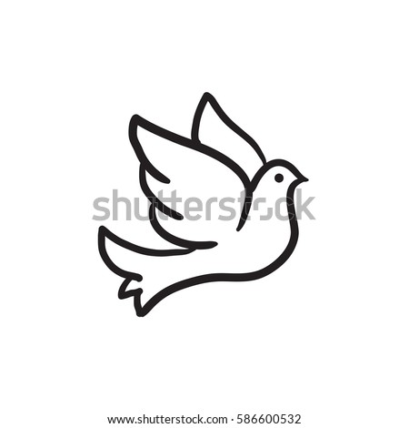 wedding dove vector sketch icon isolated on background hand drawn wedding dove icon wedding