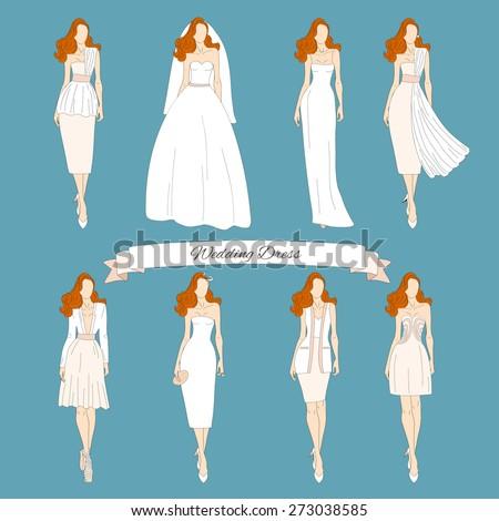Wedding Draw Dresses Set Bridal Vector Stock Vector HD (Royalty Free ...