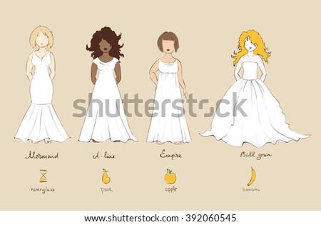 Wedding dress types female figures vector stock vector 392060545 wedding dress and types of female figures vector illustration junglespirit Choice Image