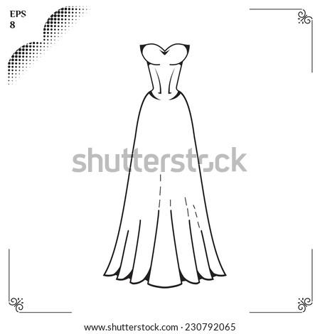 Wedding Dress Clothing Celebration Outline Image Stock Photo (Photo ...