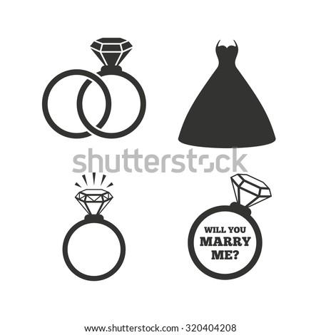 Wedding Dress Icon Bride Groom Rings Stock Vector Royalty Free
