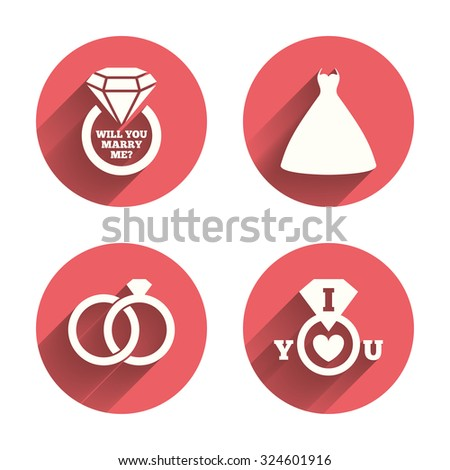 Wedding dress icon. Bride and groom rings symbol. Wedding or engagement day ring with diamond sign. Will you marry me? Pink circles flat buttons with shadow. Vector - stock vector