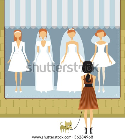 Wedding dress salon - stock vector