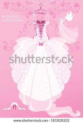 Wedding Dress, shoes and bridal veil on pink background. Wedding invitation card.  - stock vector