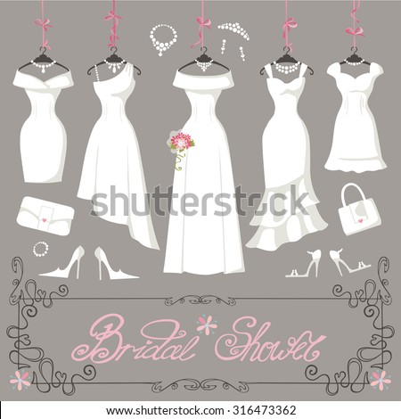 Wedding dresses hanging.Fashion bride Dress made in modern flat style.White dress,accessories set,flowers bouquet.Holiday vector background.Bridal shower composition in Different styles - stock vector