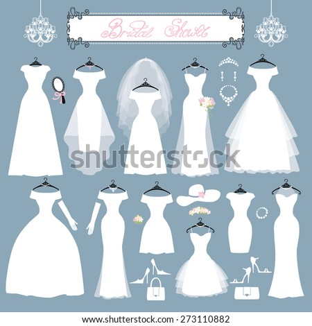 Wedding dresses in Different styles.Fashion bride Dress made in modern style.White dress ,accessories set ,silhouette.Holiday vector background.Bridal shower composition - stock vector