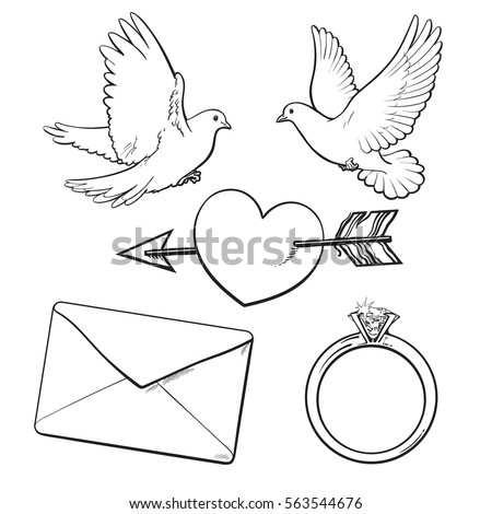 wedding engagement icon set with doves arrow pierced heart ring and love letter