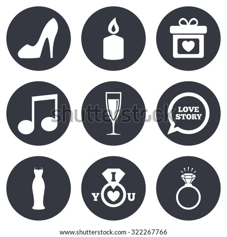 Wedding, engagement icons. Ring with diamond, gift box and music signs. Dress, shoes and champagne glass symbols. Gray flat circle buttons. Vector - stock vector