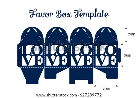 Wedding favor box laser cut template stock vector 627289772 wedding favor box laser cut template gift box with text love diy table decoration junglespirit Images