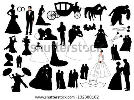 Wedding figures - stock vector