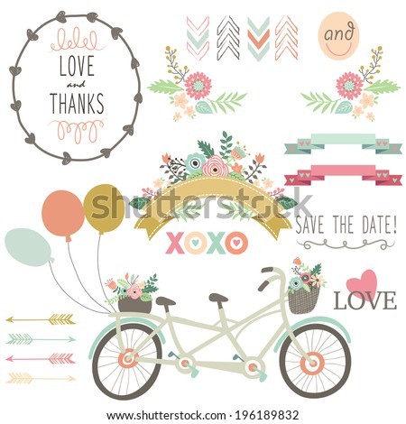Wedding Flora Vintage Bicycles Elements- illustration - stock vector