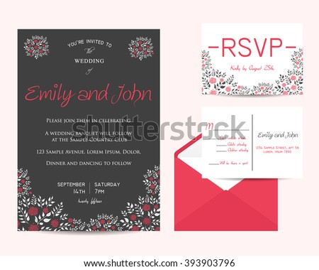 wedding floral set with invitation and rsvp cards
