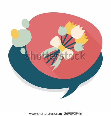 wedding flower flat icon with long shadow,eps10