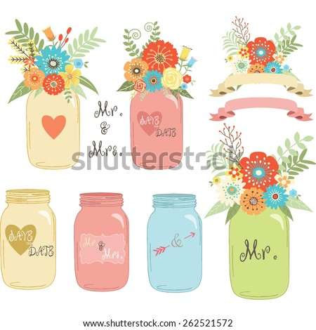 Wedding flower Mason Jar - stock vector