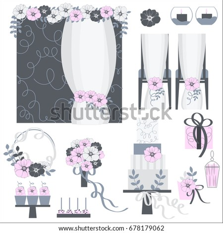 Wedding flowers, cake, decoration for chairs, bridal bouquet. Vector illustration.