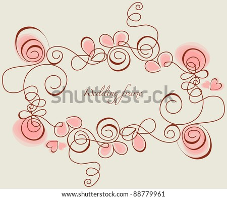 Wedding frame with stylized roses and hearts - stock vector