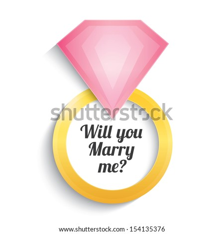 Wedding gold ring with diamond. Engagement. Will you marry me ring. Vector illustration. Isolated on white. - stock vector