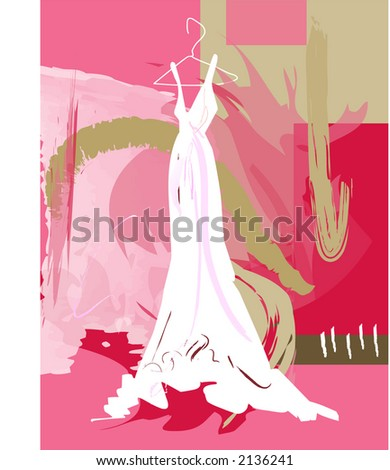 Wedding gown illustration - stock vector