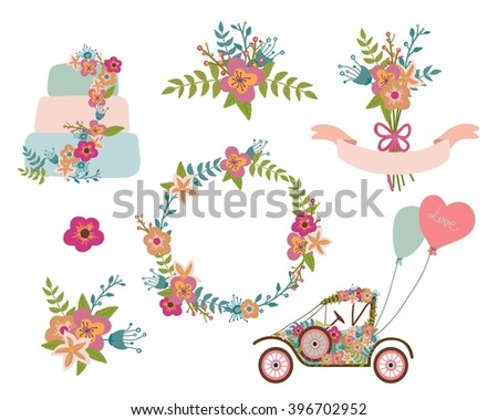 Wedding graphic collection, wreath, flowers,retro car, wedding cake, hearts,laurel, ribbons. Floral romantic design elements. - stock vector