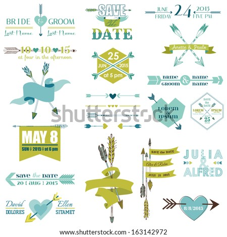Wedding Graphic Set, Arrows, Feathers, Heart, Ribbons and Labels - in vector - stock vector