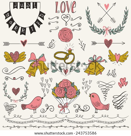 Wedding graphic set, arrows, hearts, birds, bells, rings, laurel, wreaths, ribbons and labels.Collection of vector wedding design elements. Decorative set of holiday objects and signs. - stock vector