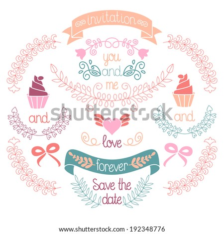Wedding graphic set, laurel, wreaths, ribbons,heart, cupcakes, bows, flowers and labels in vector - stock vector