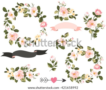 wedding graphic set with flowers ,floral wreath,banner,arrow,flower bouquet collection - stock vector