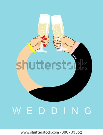 Wedding. Hands entwined, men and women in ring. Drink champagne out of glasses. Newlyweds drink wine.  Allegory of love  - stock vector
