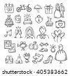 Wedding icons. Hand sketched vector wedding symbols: bride, groom, couple, love, rings, honeymoon, celebration - stock vector