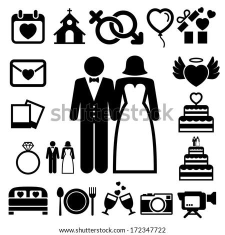 Wedding icons set. Illustration eps10 - stock vector
