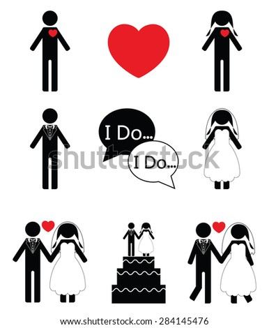 Wedding icons set in black and white  - stock vector