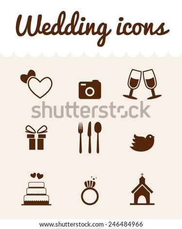 wedding icons set, love and romance - stock vector