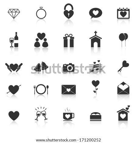 Wedding icons with reflect on white background, stock vector - stock vector
