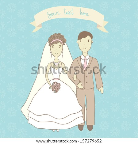 Wedding illustration in vector. Cartooning bride and groom on blue ornamental background. Ideal for wedding invitation. - stock vector