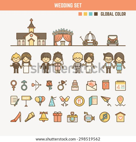wedding infographic elements for kid including characters objects and icons - stock vector