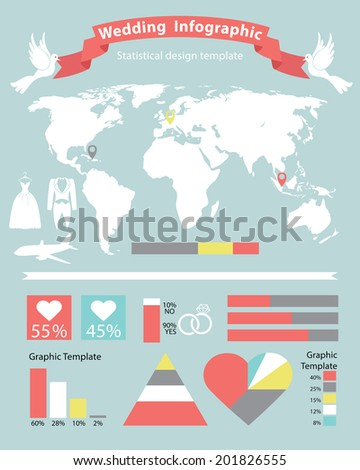 Wedding infographic setcartoon world map wedding stock vector cartoon world map with wedding icons in flat style ographical statistics gumiabroncs Image collections