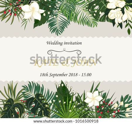 Wedding invitation background tropical leaves vector stock vector wedding invitation background with tropical leaves vector stopboris Image collections